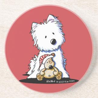 Ídem y práctico de costa del perro de Pudge Westie Posavasos Diseño