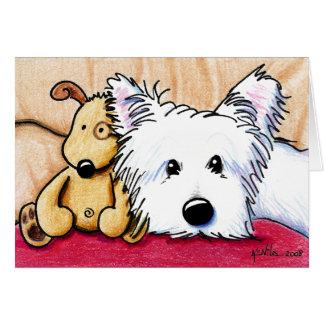 Ídem y tarjeta de nota del perro de Pudge Westie