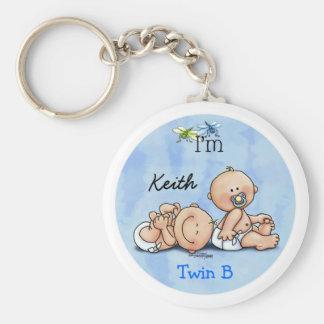 Identical Twin Boys Basic Round Button Keychain