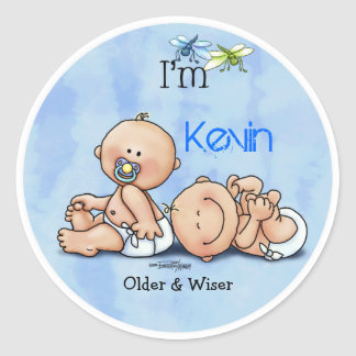 Identical Twin Boys Classic Round Sticker