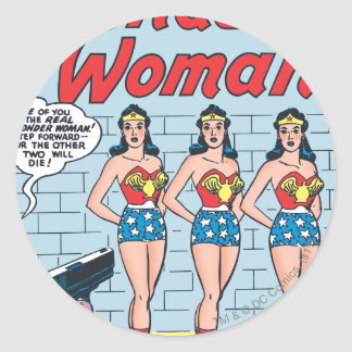Identidad triple de la Mujer Maravilla Pegatina Redonda