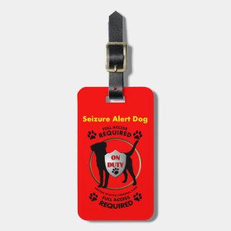 Identificación alerta del perro del asimiento etiqueta para maleta