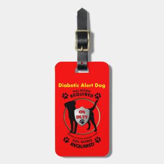 Identificación alerta diabética del perro etiquetas maleta