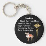 Identificación alerta médica del perro del servici llaveros personalizados