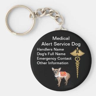 Identificación alerta médica del perro del servici llavero redondo tipo pin