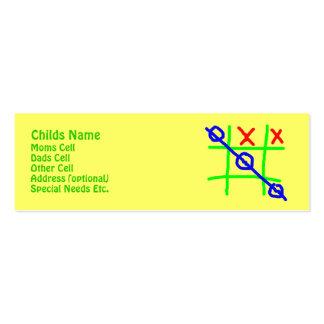 Identificación de Childs del Tic-TAC-Dedo del pie Tarjeta De Visita