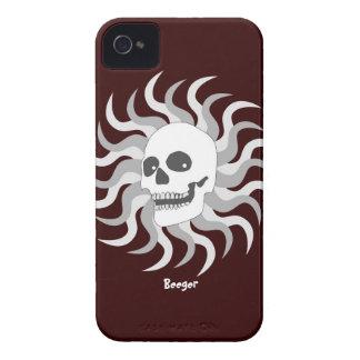 Identificación de Iphone 4 - cráneo y llamas de iPhone 4 Case-Mate Cárcasa