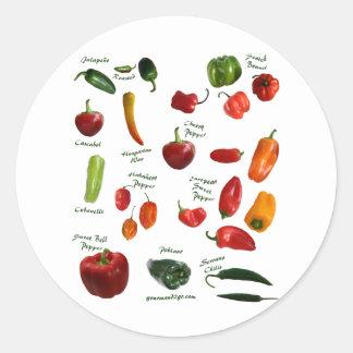 Identificación de la pimienta de chile pegatina