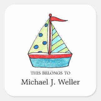 Identificación de los Bookplates el   del velero. Pegatina Cuadrada