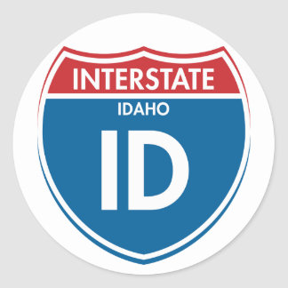 Identificación de un estado a otro de Idaho Pegatina Redonda