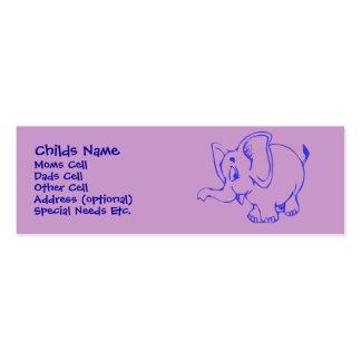 Identificación del niño del elefante de Ellie Tarjetas De Visita