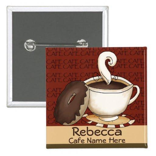 Identificación del nombre del personal del café pin