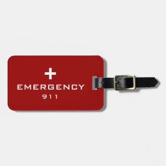 Identificación médica de la emergencia etiquetas de maletas