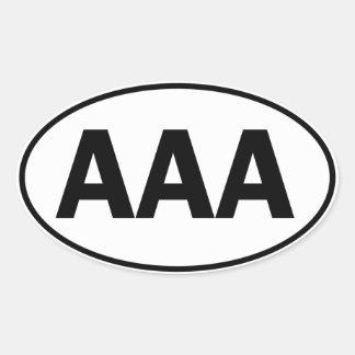 Identificación oval del AAA Pegatina Ovalada