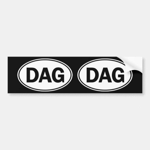 Identificación oval del DAG Etiqueta De Parachoque