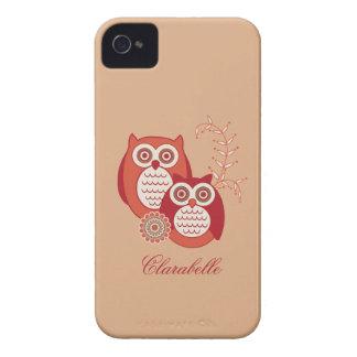 Identificación retra de la casamata de los búhos iPhone 4 Case-Mate protectores