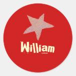 Identificación roja de la estrella del Kat del Etiquetas Redondas