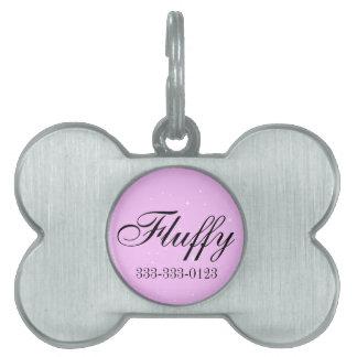 Identificación rosada del perro. Etiqueta Placas Mascota