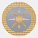 Identificadores de oro del regalo - Goldstar gris Pegatinas Redondas
