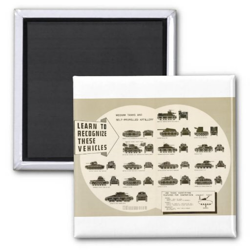 Identification Chart WWII Medium Tanks 2 Inch Square Magnet