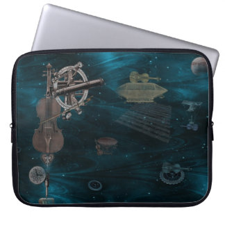 Identified Flying Violins In Midnight Blue Sky Computer Sleeve