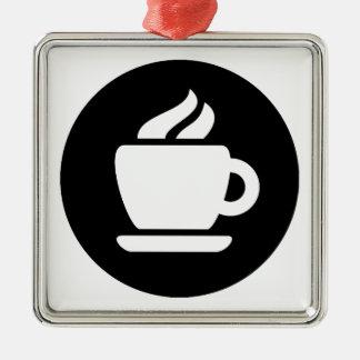 Ideología del café adorno navideño cuadrado de metal