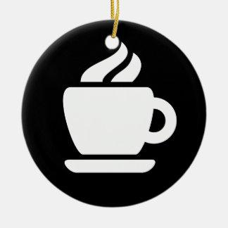 Ideología del café adorno navideño redondo de cerámica