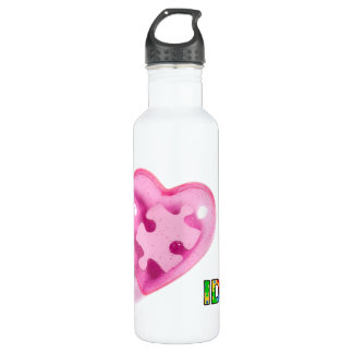 IDIC15 Pink Heart Customize Stainless Steel Water Bottle