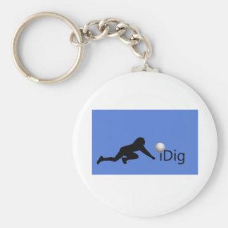 iDig Basic Round Button Keychain