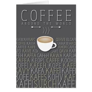 Idiomas del café en todo el mundo tarjeta de felicitación
