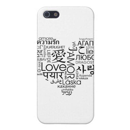 Idiomas del corazón del amor iPhone 5 funda