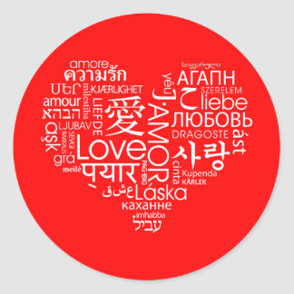 Idiomas del corazón del amor pegatina redonda