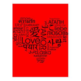Idiomas del corazón del amor postal