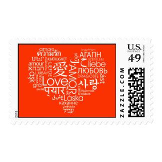 Idiomas del corazón del amor sellos postales
