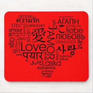 Idiomas del corazón del amor alfombrilla de ratones