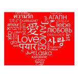 Idiomas del corazón del amor tarjeta postal