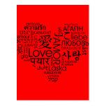 Idiomas del corazón del amor tarjetas postales