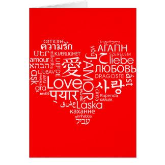 Idiomas del corazón del amor tarjetón