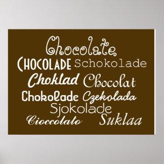 Idiomas del poster 28 del chocolate x 20 mate