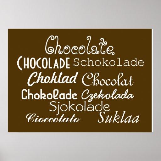 """Idiomas del poster 28"""" del chocolate x 20"""", (mate)"""