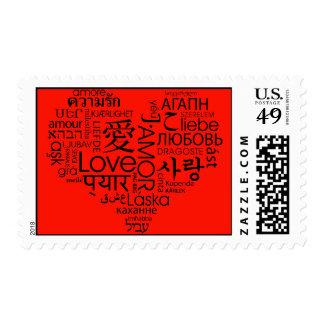 Idiomas rojas del corazón del amor estampilla