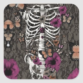 Idiopathic idiot floral lace skeleton square sticker
