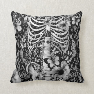 Idiopathic idiot floral lace skeleton throw pillow