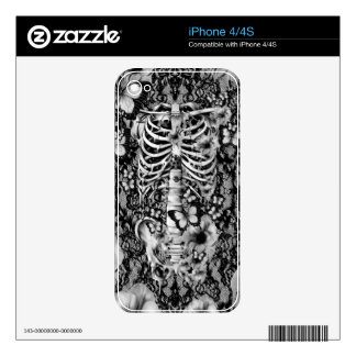 Idiopathic idiot, lace rib cage with poppies iPhone 4S skin