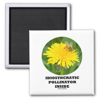 Idiosyncratic Pollinator Inside Bee On A Dandelion 2 Inch Square Magnet