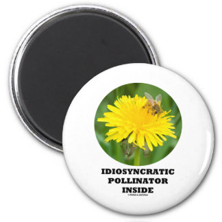 Idiosyncratic Pollinator Inside Bee On A Dandelion 2 Inch Round Magnet