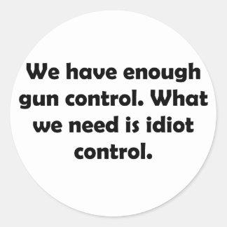 Idiot Control Round Sticker
