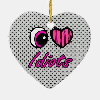Idiotas del amor del corazón I del ojo de Emo Adorno De Cerámica En Forma De Corazón