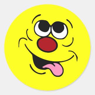 Idiotic Smiley Face Grumpey Classic Round Sticker