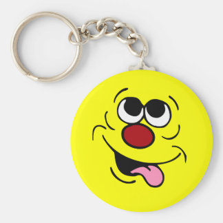 Idiotic Smiley Face Grumpey Keychain